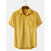 Mens Loose Corduroy Breathable Pocket Button Down  Casual Shirts