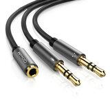 QGeeM 3,5 mm-es dugó-2 hüvely 3,5 mm-es elosztó adapter Aux kábel iPhone-hoz a Samsung MP3-lejátszó táblagépéhez