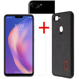 Bakeey Fabric Splice Protective Case+Tempered Glass Screen Protector +Lens Protector For Xiaomi Mi8 Lite