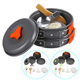 8 PCS Picnic BBQ Cooking Set 1-2 People Non-stick Pots Pans Bowls Outdoor Camping Cookware Kit