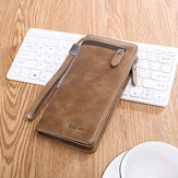 Men Business Long Wallet SIM SD Card Slot Phone Bag Vintage Fashion Genuine Leather Clutch Bag