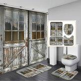 Tenda da doccia per bagno con porta in legno vintage Set di tappetini antiscivolo Set di tende da doccia impermeabile antiruggine