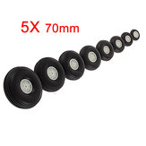 5X 70MM Rubber Wheel For RC Airplane And DIY Robot Tires