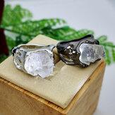 Anel de minério de cristal natural irregular vintage geométrico anel de metal oco transparente de pedra preciosa