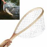 58 centimetri manico in legno della trota di atterraggio pesca pesci mosca gomma chiaro della rete della maglia cattura affrontare