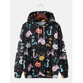 Mens All Over Graffiti Cartoon Cat Print Loose Casual Kangaroo Pocket Drawstring Hoodies