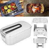 Складной алюминиевый обед Коробка Контейнер для еды Мини-плита для спирта Стеллаж для варки из нержавеющей стали На открытом воздухе Кемп