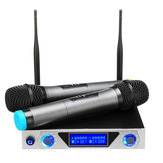 Universal LCD Dual Channel 2 Mic Professional Handheld UHF KTV Karaoke Wireless Microphone