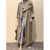 Plus Size Women Lapel Double Breasted Tie Back Casual Long Trench Coats