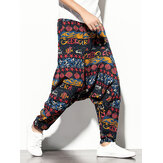 Mens 100% Cotton Vintage Print Loose Drop-Crotch Pants With Pocket