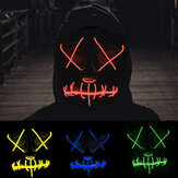 EL Cold Light Maschera luce a led Luminoso Halloween Maschera Cosplay Glow LED Spaventoso EL Wire Light Up Grin Mascheras Hip-hop luminoso Croce Maschera
