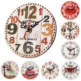 12cmVintageRústicoDeMadeira Redonda Parede Relógio Chique Antigo Home Office Decor Presentes