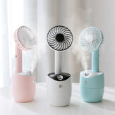 Ventilateur humidificateur d'air à jet rotatif 2 en 1, charge USB 3 vitesses blanc rose bleu