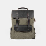 Men Retro Vintage Multifunction Canvas Couro Anti-Theft Backpack