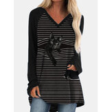 Women V-Neck Stripe Back Cat Print Long Sleeve Casual T-Shirts