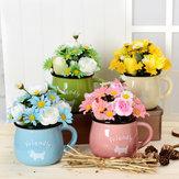 Simulação Flower Chrysanthemum Pot Pot Pottery 4 cores podem escolher