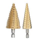 Drillpro 2шт HSS с титановым покрытием ступенчатое коническое сверло 3 / 16-7 / 8 и 1 / 4-1-3 / 8 дюймов фреза для отверстий под шестигранный хвостовик