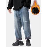 Hommes Épaissir Plus Velours Distressed Casual Loose Warm Jeans