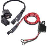 12 V-24V 2.1A SAE ke USB Adapter dengan Ekstensi Harness Motor Waterproof Charger