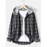 Camisa con botones y estampado de cuadros para hombre vendimia Camisas con capucha y manga larga con dobladillo curvo