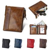 IPRee® Hombre vendimia RFID Monedero de bloqueo Hombres Piel Genuina Titular de la tarjeta de identificación Monedero de bolsillo