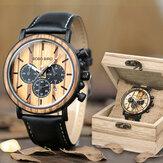 BOBO BIRD P09 Wooden Date Display Wristwatch Quartz Watch