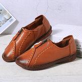 Mulheres frente zipper confortável Soft sapatos de couro de vaca único