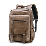 Faux Leather Large Capacity Laptop Bag Backpack For Men