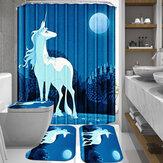 3D Waterproof Unicorn Moon Printing Shower Curtain Bathroom Toilet Rug Mat Set Bathroom Decoration