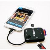 Micro USB naar SD TF M2 MS-kaartlezer OTG Hub voor mobiele telefoons