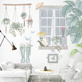 DIY Removable Green Plants Wall Stickers Windowsill Scenery Cat Boots Flower Sticker for Living Room Bedroom Kids Room Decoration