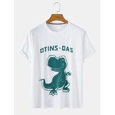 قطن مضحك الكرتون ديناصور طباعة جولة الرقبة عارضة قصيرة الأكمام تي شيرت