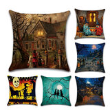 Halloween Series Ancient House Witch Pumpkin Cat Pillow Cover Decorative Toys