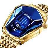 BINBOND Moda Erkekler İzle Yaratıcı Dila Geometrik Şekil Serin Lokomotif Erkekler Paslanmaz Çelik Kayış quartz saat