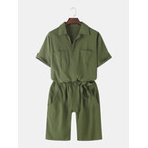Mens Solid Color Cotton Casual Belted Jumpsuits With Pocket