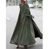 Women Casual Hooded Loose Cape Jacket Coats Cloak