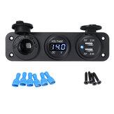12V 2.1 + 2.1A Azul LED Painel Rocker Switch Power carregador USB duplo Tomada Visor de tensão do voltímetro para barco de carro RV