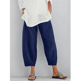 Calças de cintura elástica de algodão de cor sólida para mulheres Calças