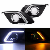 For Mazda 3 Axela 2014-2015 White LED Daytime Running Fog Light DRL Yellow Turn Signal