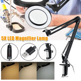 5X Magnifying Lamp Clamp Mount LED Magnifier Lamp Manicure Tattoo Beauty Light