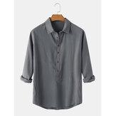 Erkek Pamuk Düz Renk Yaka Yaka Günlük Uzun Kollu Henley Gömlek