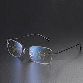 Unisex Dual-use Frameloze Multi-focus Anti-blauw licht Intelligente automatische zoom Leesbril Presbyope bril