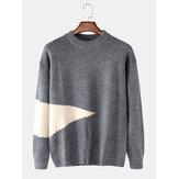 Maglioni casual a maniche lunghe con pullover lavorato a maglia da uomo a contrasto