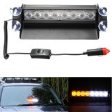 8 LED Car Strobe Flash Warning Light Emergency Sucker Wind Shield White&Amber