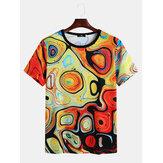 Mens Abstract Colorful Impresso Crew Neck manga curta camisas casuais
