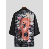 الرجال قمصان الكيمونو اليابانية سترة الربيع الصيف عارضة التنين طباعة معاطف