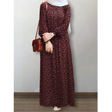 Women Floral Print Puff Sleeve Lace-up Turn-Down-Collar Casual Maxi Dress