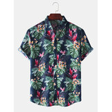 Holiday Style Tropical Plant Printed Lapel Collar Short Sleeve Mens Shirts
