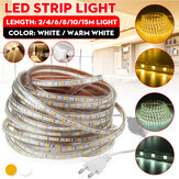 2/4/6/8/10/15M AC220V 5050 LED Strip Rope Light Waterproof Garden Kitchen Home Decoration Lamp With EU Plug