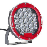 1Pcs LED 9-32V IP68 6000K 105W 6000LM Motorcycle Car ATV Headlights Red 7Inch